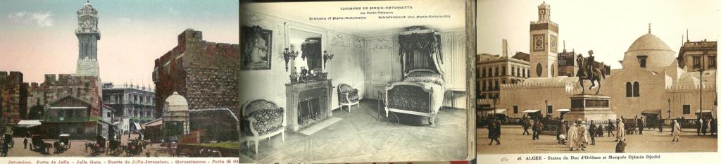 Vintage postcards Central Florence, Marie-Antoinette's Bed, a scene in Algiers