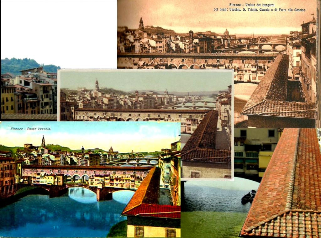Vintage postcards Ponte Vecchio, Florence Italy