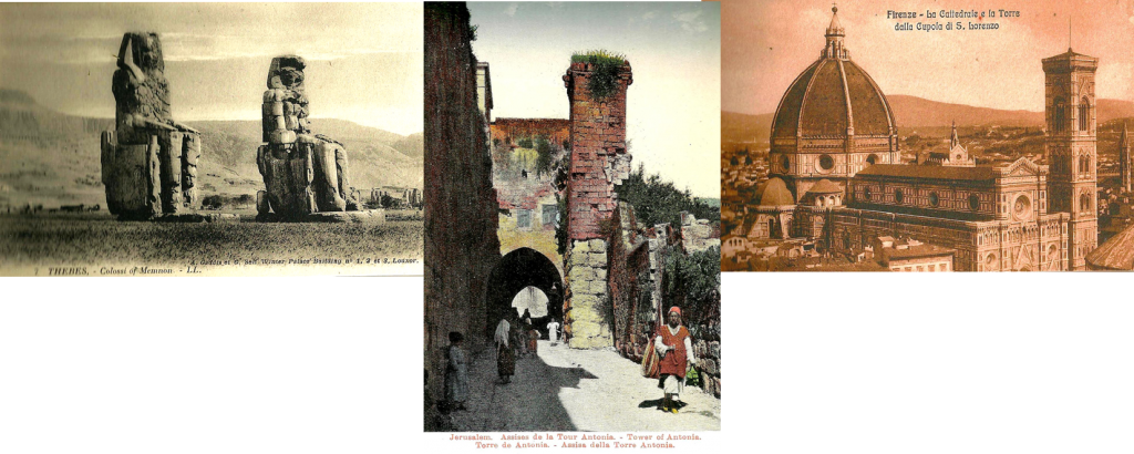 Vintage postcards Colossi of Memnon at Thebes, Egypt, Scene in Jerusalem, The Duomo in the distance, Florence.