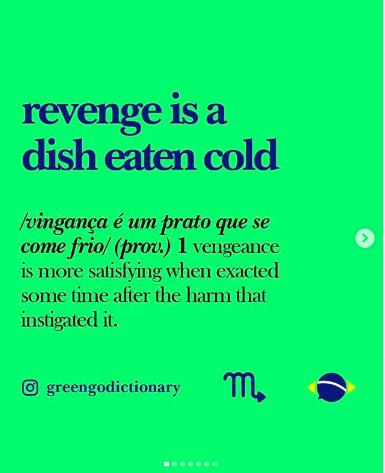 greengodictionary Brazilian slang instagram vinganca e um prato que se com frio